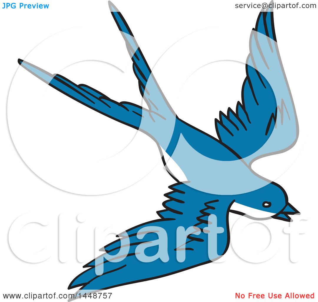 1080x1024 Clipart Of A Sketched Drawing Styled Flying Blue Swallow Bird