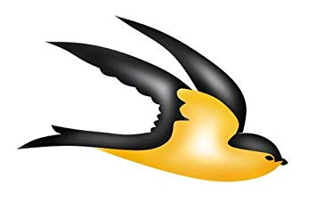 355x227 Flying Swallow Bird Wall Stencil Sku