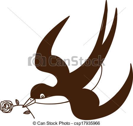 450x426 Swallow With Rose Isolated On White. Sketch Illustration Clip Art