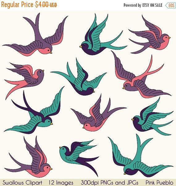 570x604 Swallows Clip Art Clipart, Birds Clipart Clip Art, Vintage Tattoo