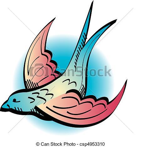 450x470 Tattoo Design Swallow Clip Art. Tattoo Design Of A Swallow. Vector