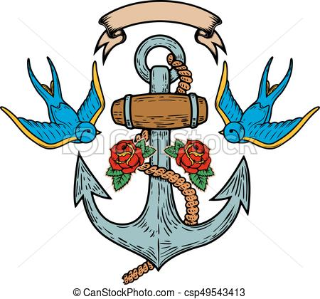 450x420 Anchor With Swallows And Roses. Tattoo Design. Vector Vector