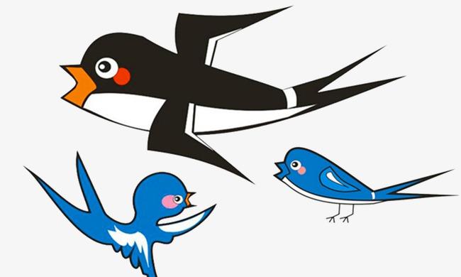 650x390 Cartoon Swallow, Cute Cartoon, Animal, Blue Birds Png Image