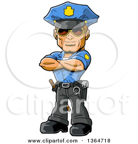 450x470 Clipart Illustration Of A Tough Male Police Officer In A Blue