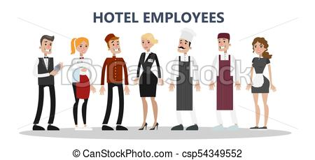 450x229 Hotel Staff Set. Maids And Cleaning Service, Chef And Clipart