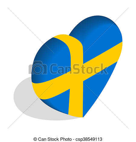 450x470 Heart Of Sweden Flag Colors Icon. Icon In Isometric 3d Style