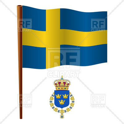 400x400 Sweden Flag And Lesser Coat Of Arms Royalty Free Vector Clip Art