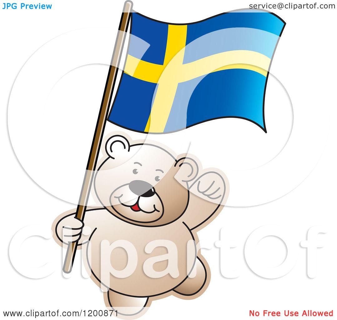1080x1024 Cartoon Of A Teddy Bear With A Sweden Flag