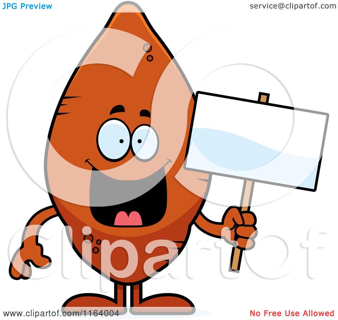 1080x1024 Cartoon Of A Sweet Potato Mascot Holding A Sign