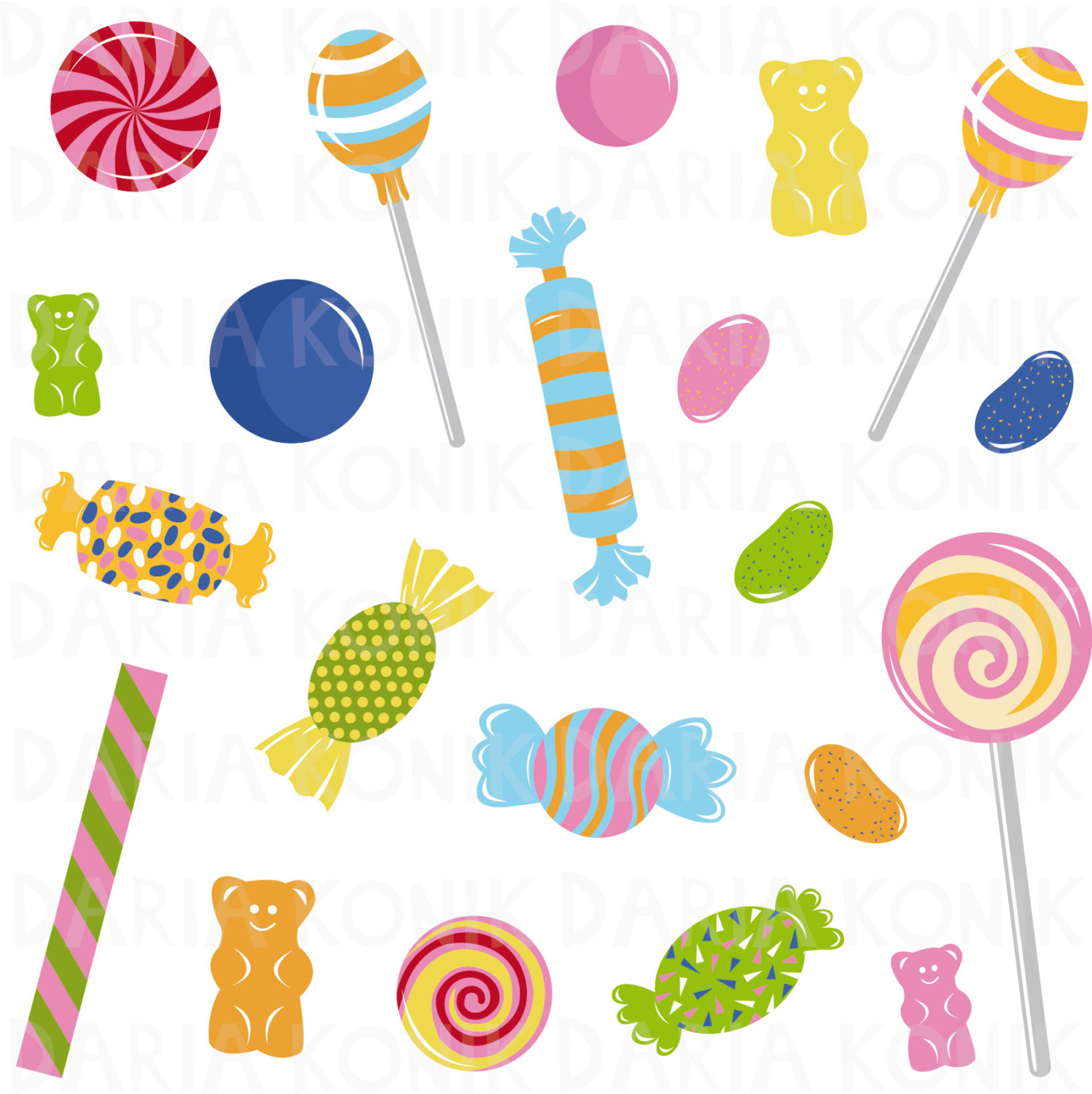 1498x1500 Candy Clip Art Set Sweets Clipart Jelly Beans Gummy Bears