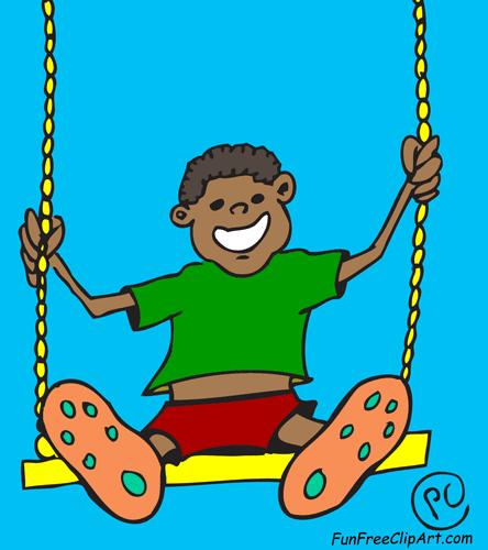 444x500 Happy Boy On Swing