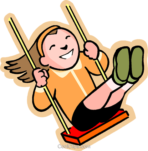 473x480 Little Girl On A Swing Royalty Free Vector Clip Art Illustration