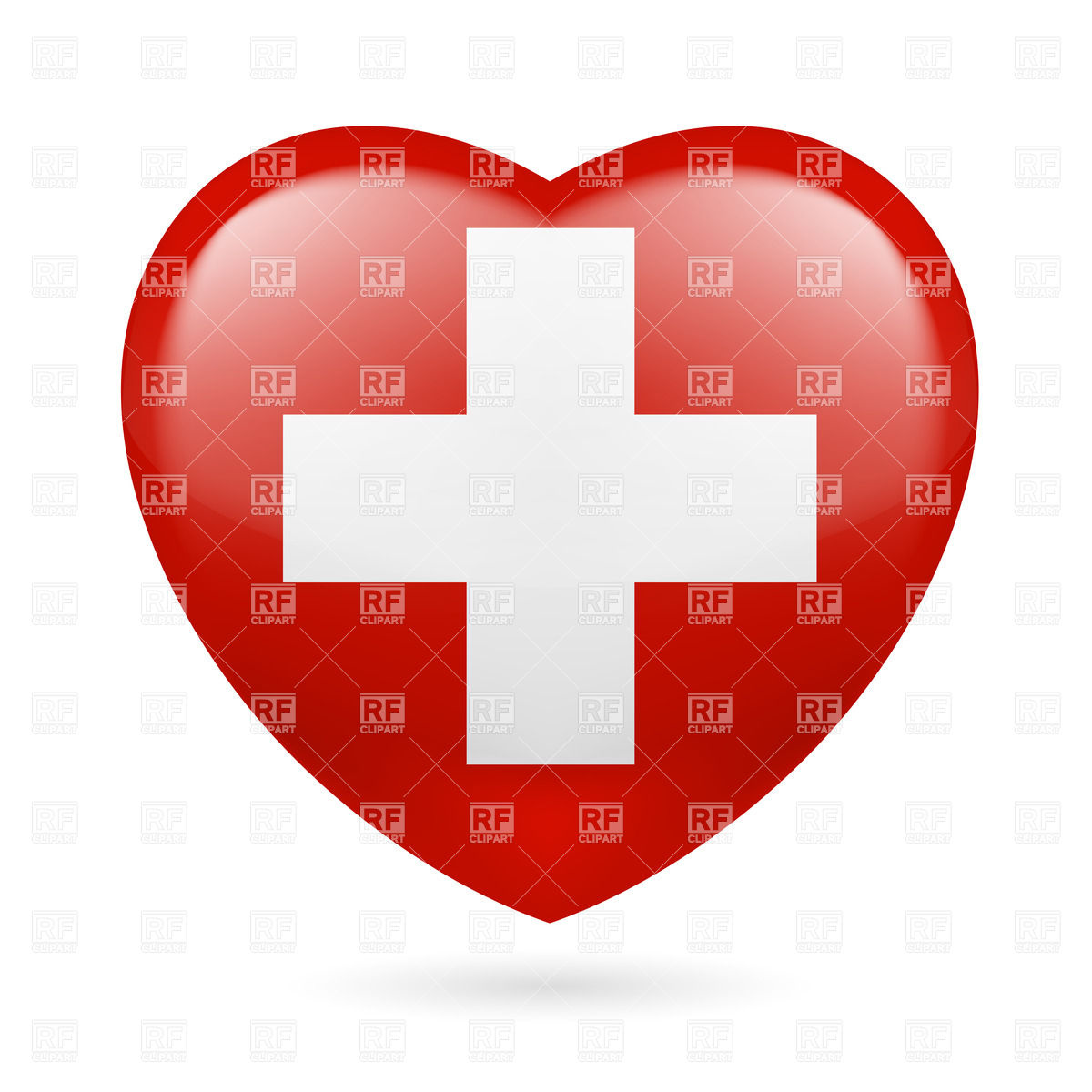 1200x1200 Heart With Swiss Flag Colors. I Love Switzerland Royalty Free