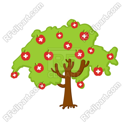 400x400 Patriotic Tree With Switzerland Flags Royalty Free Vector Clip Art