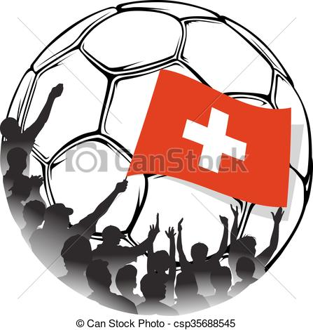 447x470 Soccer Fans Switzerland. Vector Illustration Of A Group Of Eps