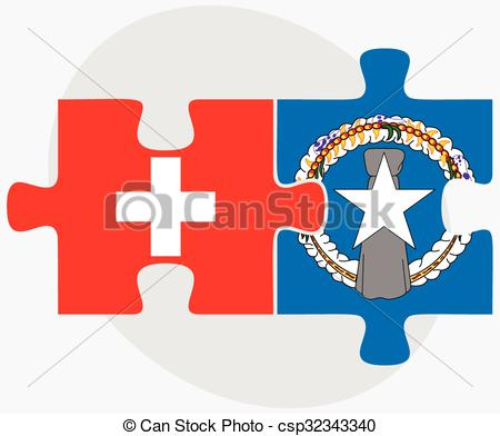 450x392 Switzerland And Northern Mariana Islands Flags In Puzzle Eps