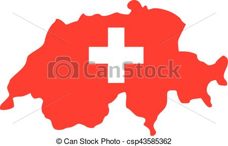 450x288 Switzerland Map With Flag In Two Colors Clip Art Vector