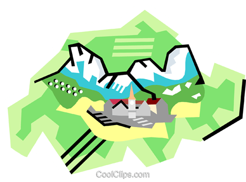 480x355 Geotechnical Style, Switzerland Royalty Free Vector Clip Art