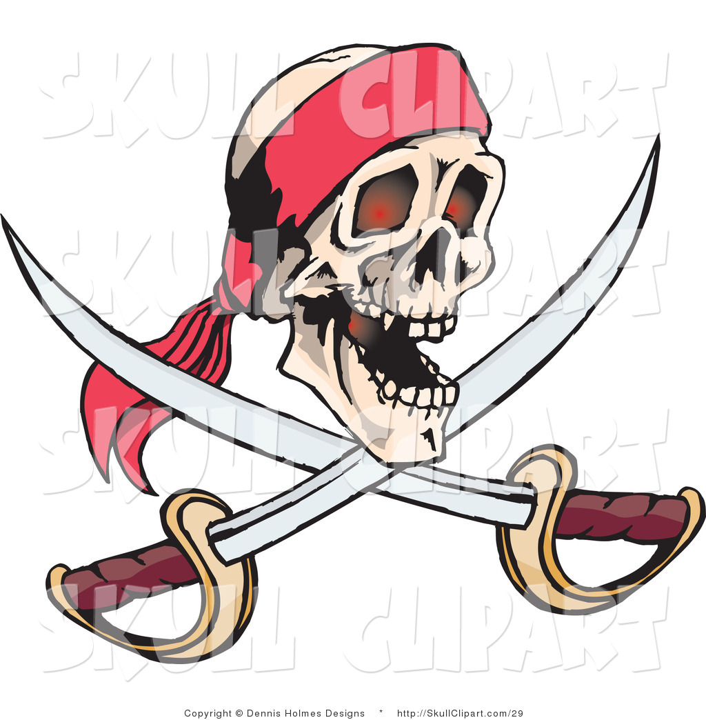 1024x1044 Vector Clip Art Of A Smiling Human Pirate Skull With Crossed