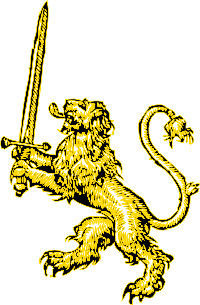 390x594 Yellow Lion With Sword Clip Art