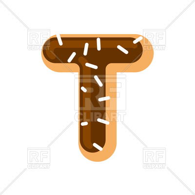 400x400 Letter T Donut Font Royalty Free Vector Clip Art Image