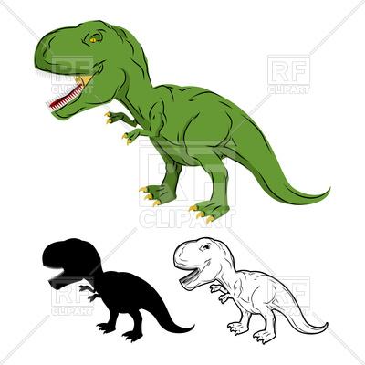 400x400 Green Dinosaur, Skeleton Of Tyrannosaurus Rex Royalty Free Vector