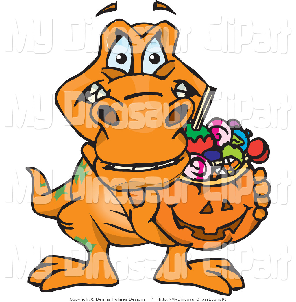 1024x1044 Clipart Of A Trick Or Treating T Rex Dinosaur Holding A Pumpkin