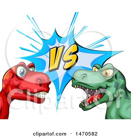 450x470 Clipart Of Fighting T Rex Dinosaurs