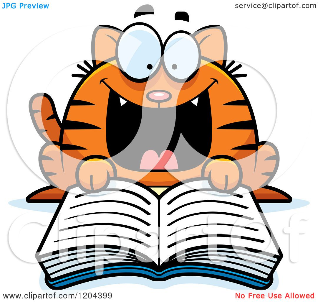 1080x1024 Cartoon Of An Excited Tabby Cat Reading A Book