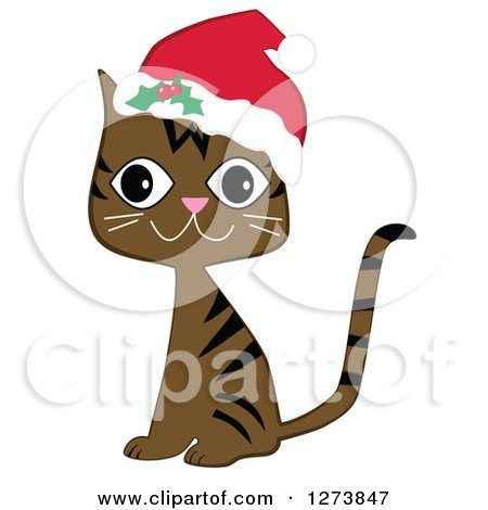 450x470 Clipart Of Happy Sitting Brown Christmas Tabby Cat Wearing