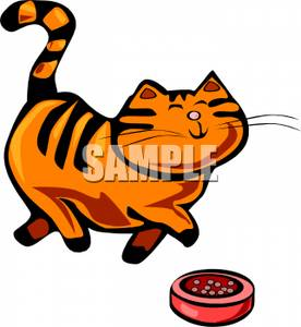 276x300 Royalty Free Clipart Image An Orange Striped Cat With A Bowl Of Food