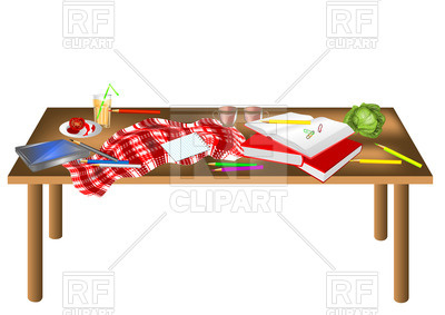 400x283 Messy Table Isolated On A White Background Royalty Free Vector