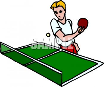 350x292 Cartoon Of A Kid Playing Table Tennis