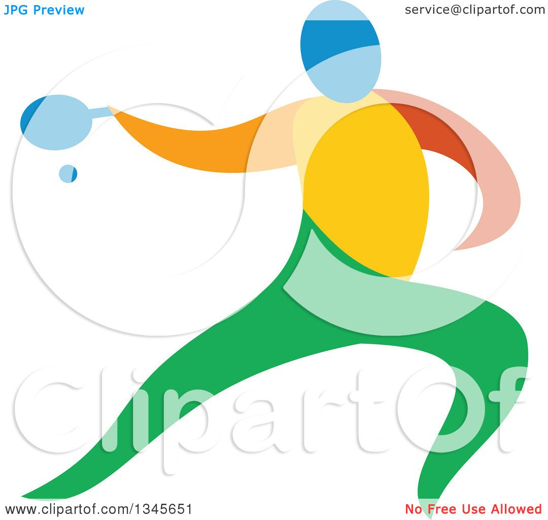 1080x1024 Clipart Of A Colorful Athlete Playing Table Tennis