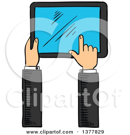 450x470 Clipart Of A Sketched Hand Using A Tablet Computer