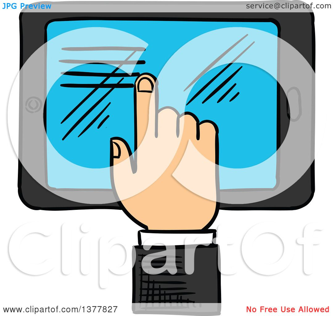 1080x1024 Clipart Of A Sketched White Business Man's Hand Using A Touch
