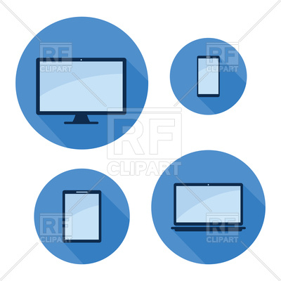 400x400 Monitor Phone Tablet Laptop On Blue Royalty Free Vector Clip Art
