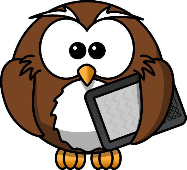 600x548 Owl With Tablet Clip Art