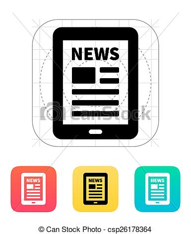 385x470 Tablet Pc Newspaper Icon. Vector Illustration. Clip Art Vector