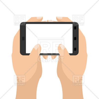 400x400 Two Hands And Tablet Smartphone Royalty Free Vector Clip Art Image