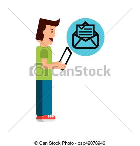 450x470 Character Boy With Tablet Email Newsletter Open Envelope Eps