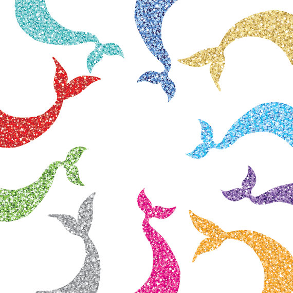 570x570 Glam Sparkly Mermaid Tail Clip Art Two Styles 10
