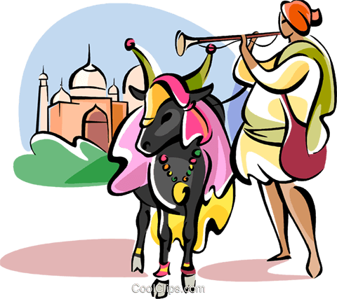 480x427 Sacred Cow In Front Of Taj Mahal Royalty Free Vector Clip Art