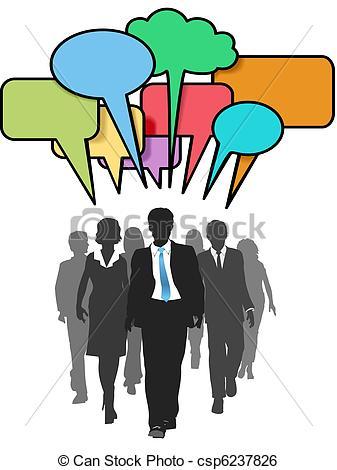 337x470 Business Social People Walk Talk Color Bubbles. Social Media