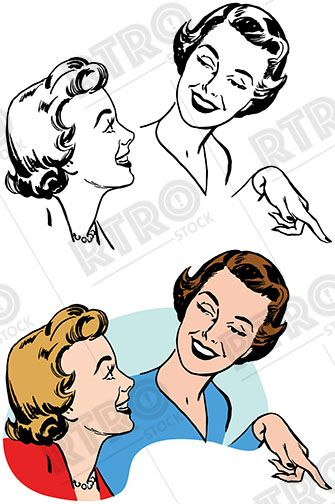 335x504 Two Women Smiling Talking And Pointing Vintage Retro Clipart Clip