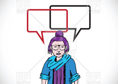400x285 Woman Talking With Dialog Speech Bubbles Royalty Free Vector Clip