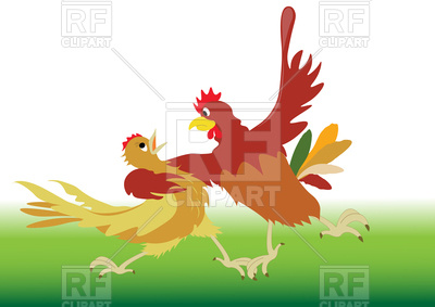 400x283 Rooster And Chicken Dancing Tango In Cartoon Style Royalty Free