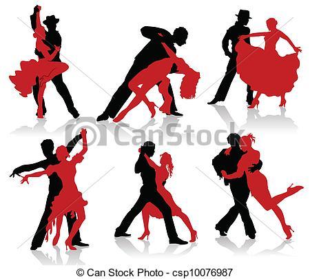 450x405 Silhouettes Of The Pairs Dancing Ballroom Dances. Tango, Vector