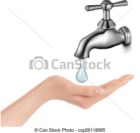 450x427 Water Tap With Drop And Hand. Vector Illustration. Clip Art Vector