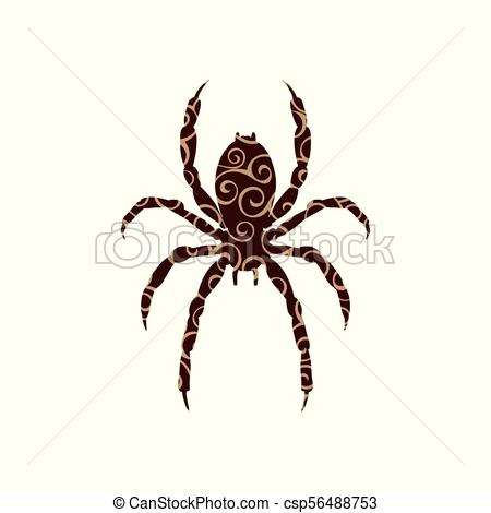 450x470 Spider Insect Spiral Pattern Color Silhouette Animal. Vector